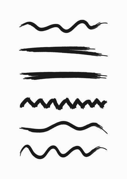 Set of curved lines drawn by hand with a rough brush. Sketch, grunge, watercolor, paint. Set of curved lines drawn by hand with a rough brush. Sketch, grunge, watercolour, paint. Collection of black isolated elements. Vector illustration. hyphen stock illustrations