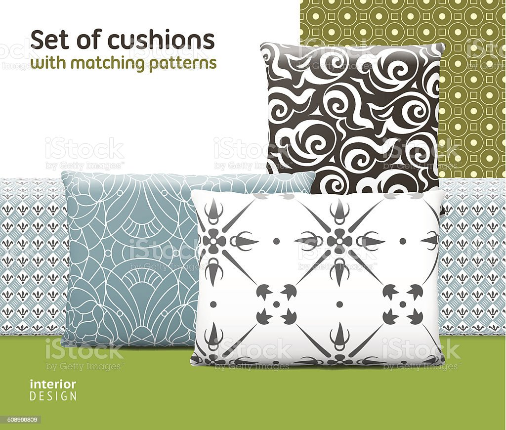 Set of cushions and pillows with matching seamless patterns vector art illustration
