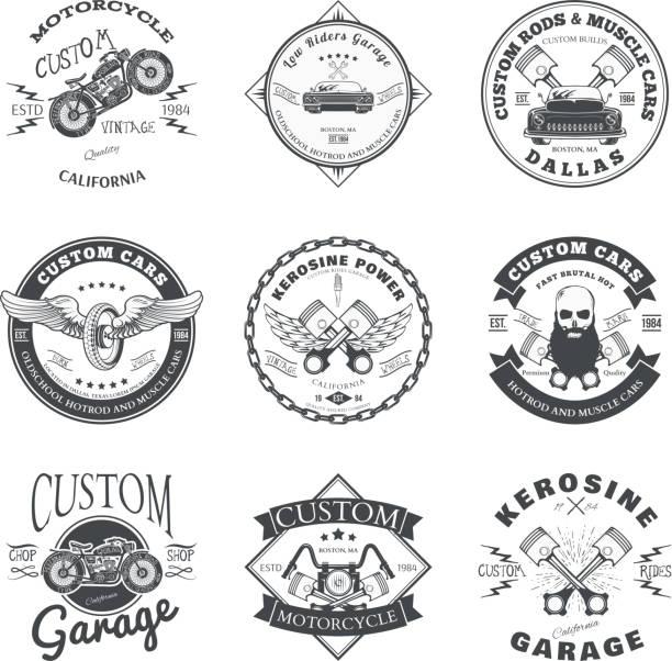 Set of Custom Car and Bike Garage Label and Badge vector art illustration