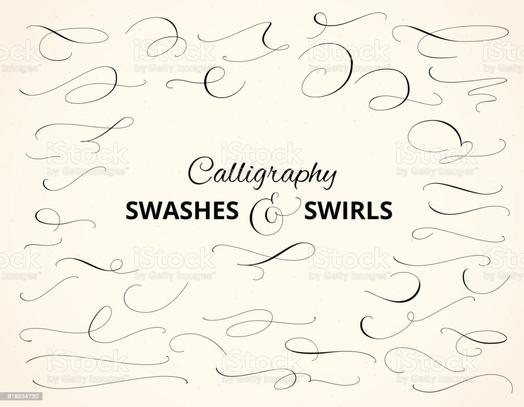 Set Of Custom Decorative Swashes And Swirls White On Black Great For ...