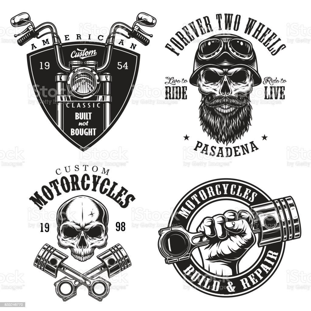 Conjunto de emblemas de motos custom - ilustración de arte vectorial