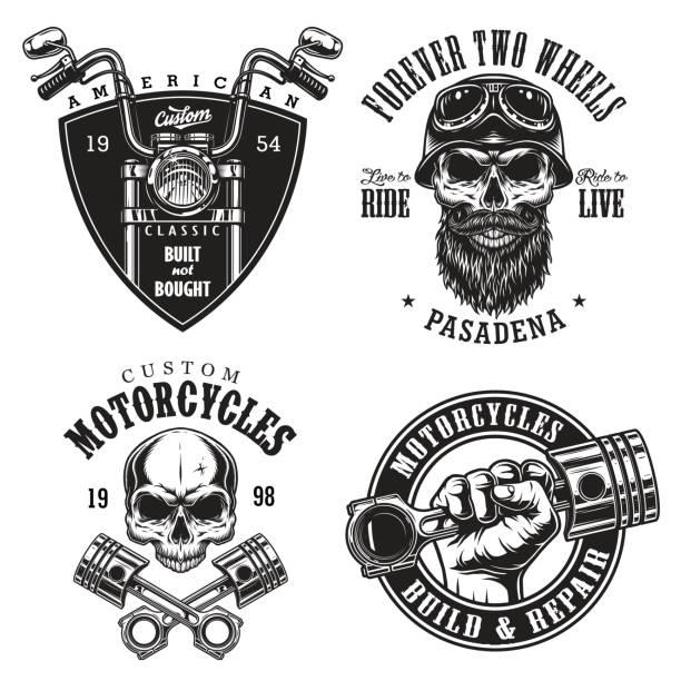 illustrations, cliparts, dessins animés et icônes de ensemble des emblèmes de la moto custom - moto sport