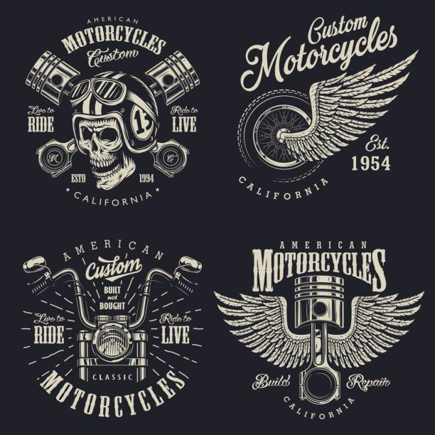Satz von custom Motorrad Embleme – Vektorgrafik