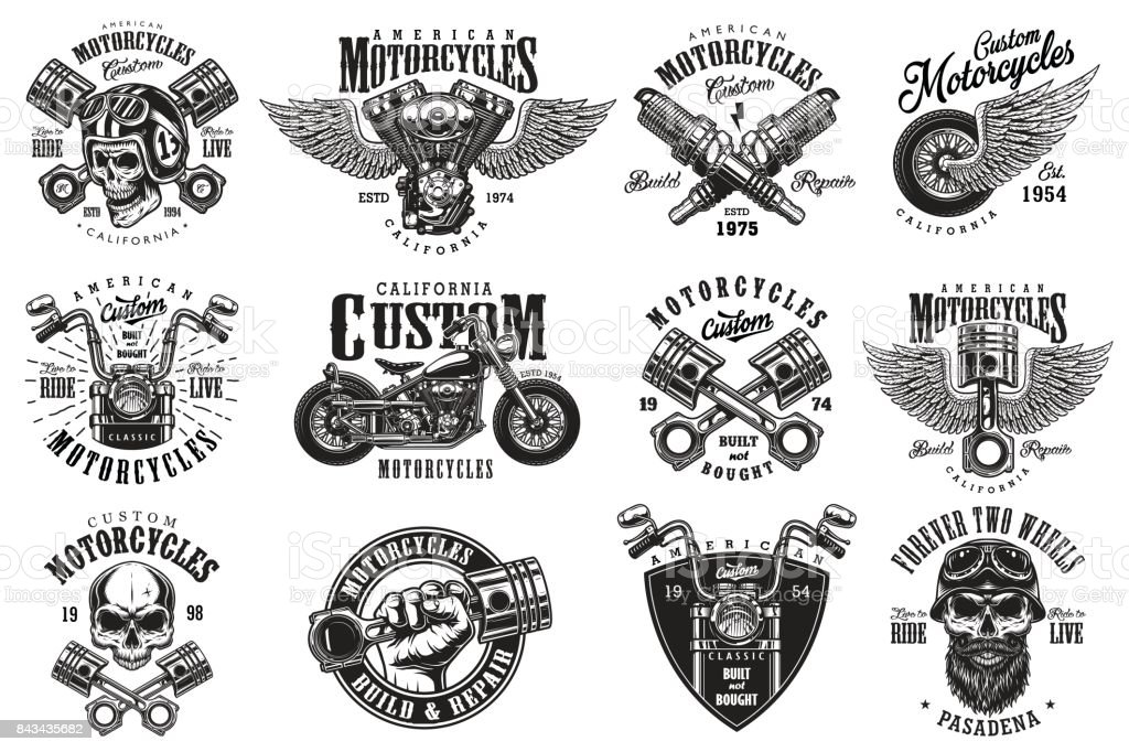 Set of custom motorcycle emblems - illustrazione arte vettoriale
