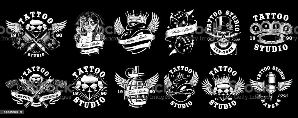 Set of custom tattoo designs (for dark background) vector art illustration