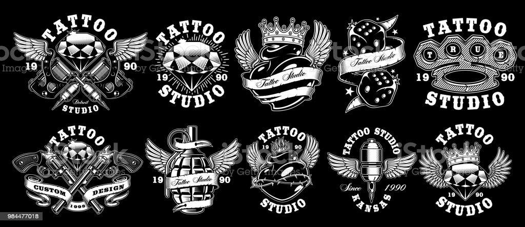 Set of custom tattoo designs vector art illustration