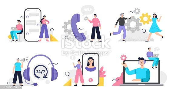 istock Set of customer service illustration. Girls and men answer phone calls, chatting with customers and help clients 1202214797