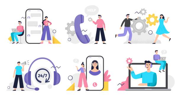 Set of customer service illustration. Girls and men answer phone calls, chatting with customers and help clients Flat Vector illustration good for telemarketing, call centers, helpline or other businesses. call centre illustrations stock illustrations