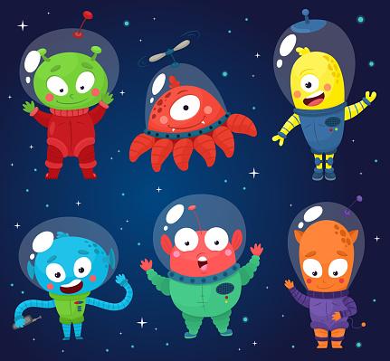 Set of cute aliens. Vector illustration in cartoon style.