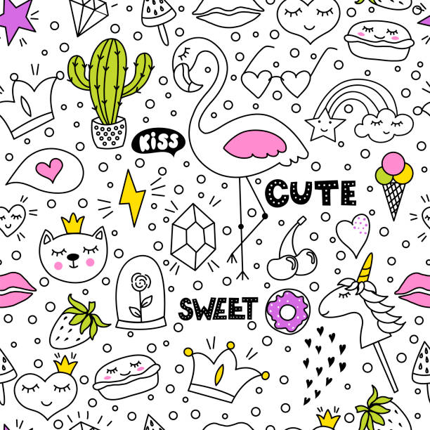 set of cute and colorful doodle hand drawing on white background. - kiss stock illustrations