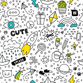 Set of cute and colorful doodle hand drawing on white background. Vector seamless pattern.