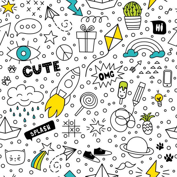satz von niedlichen und bunten doodle handzeichnung auf weißem hintergrund. - kind stock-grafiken, -clipart, -cartoons und -symbole