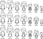 Set of Cute and Diverse Stick People in Vector Format, strokes expanded but image not flattened so different aspects of each person can be easily altered. No transparencies or gradients used. Large JPG included. Each element is individually grouped for easy editing.