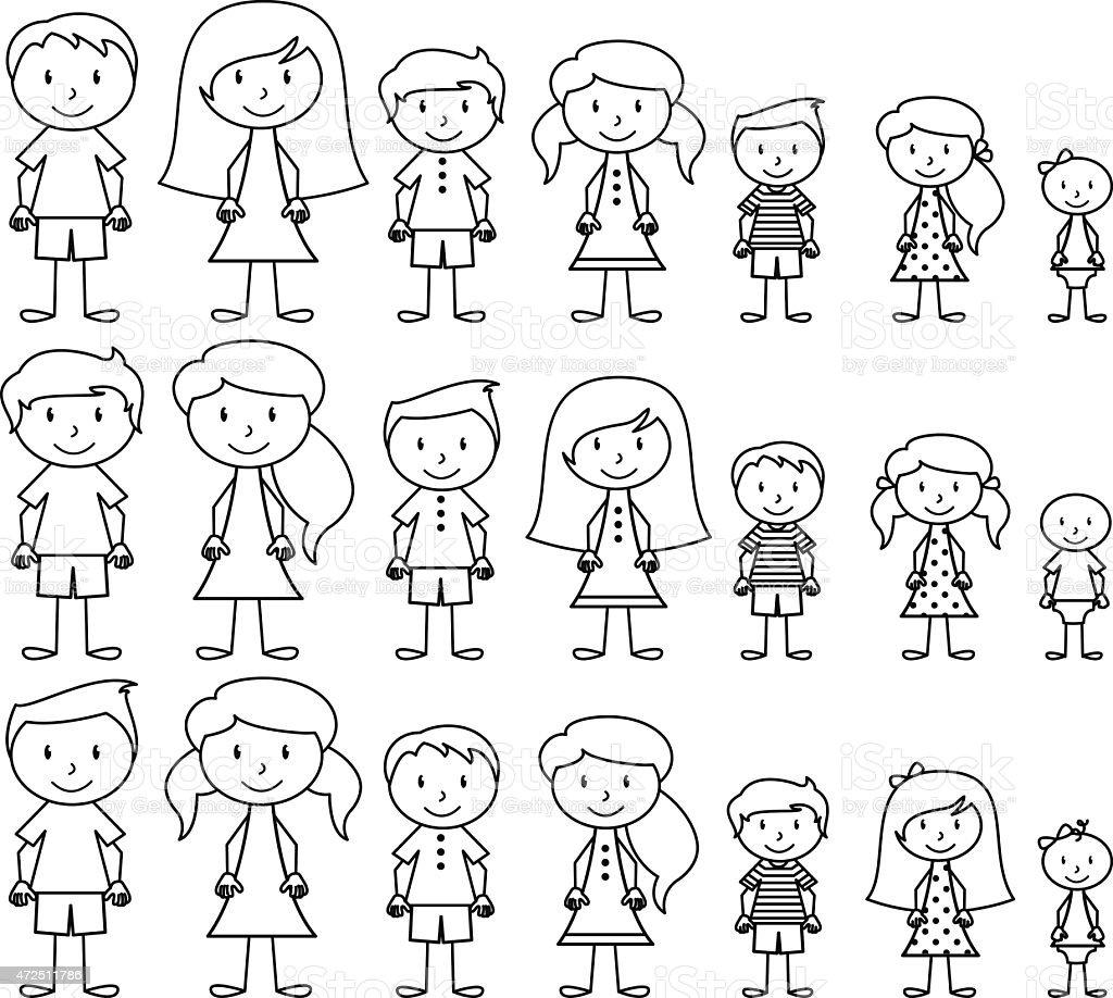 Ensemble de mignon et diversifiée Bâton personnes en Format vectoriel - Illustration vectorielle