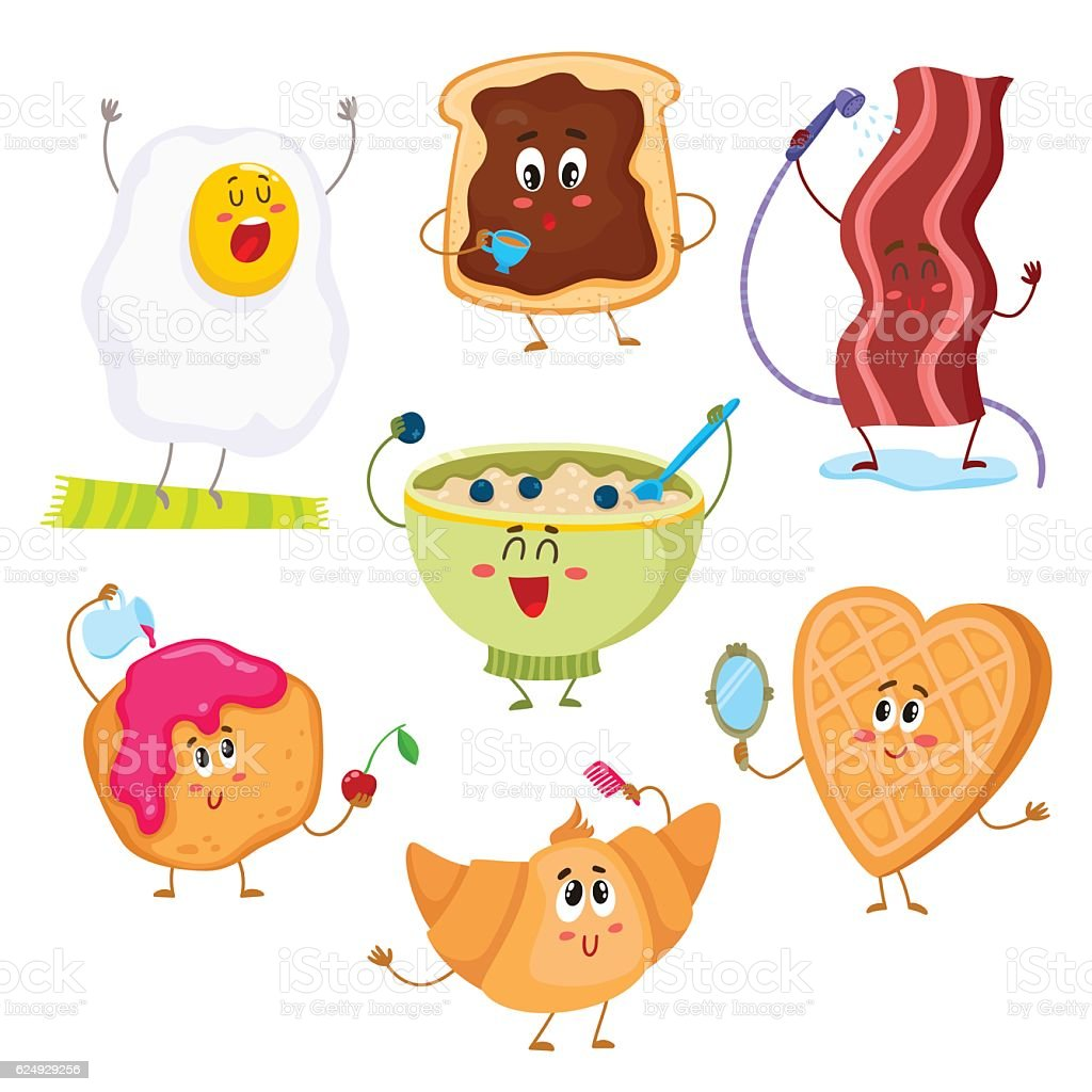 Set of cute and funny cartoon breakfast characters vector art illustration