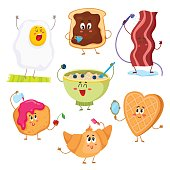 Set of cute and funny cartoon breakfast characters