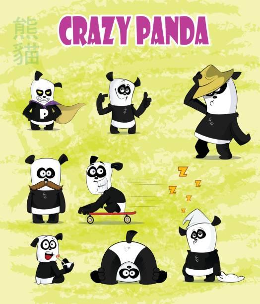 ilustraciones, imágenes clip art, dibujos animados e iconos de stock de conjunto de caracteres de dibujos animados lindo y divertido panda - emoji perezoso