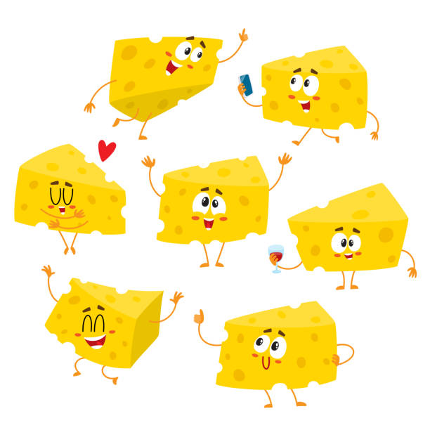 Set of cute and funny cheese chunk character showing different emotions Set of cute and funny cheese chunk character showing different emotions, cartoon vector illustration isolated on white background. Funny cheese character, mascot with human face and various emotions mozzarella stock illustrations