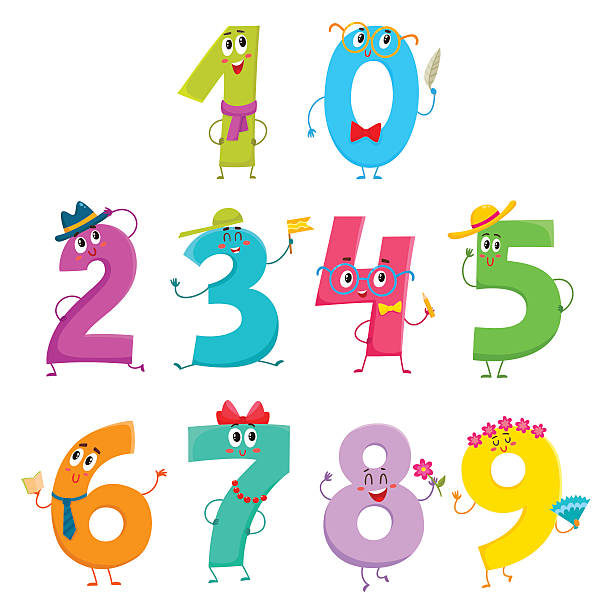set of cute and funny colorful number characters - kindergesichtsfarben stock-grafiken, -clipart, -cartoons und -symbole
