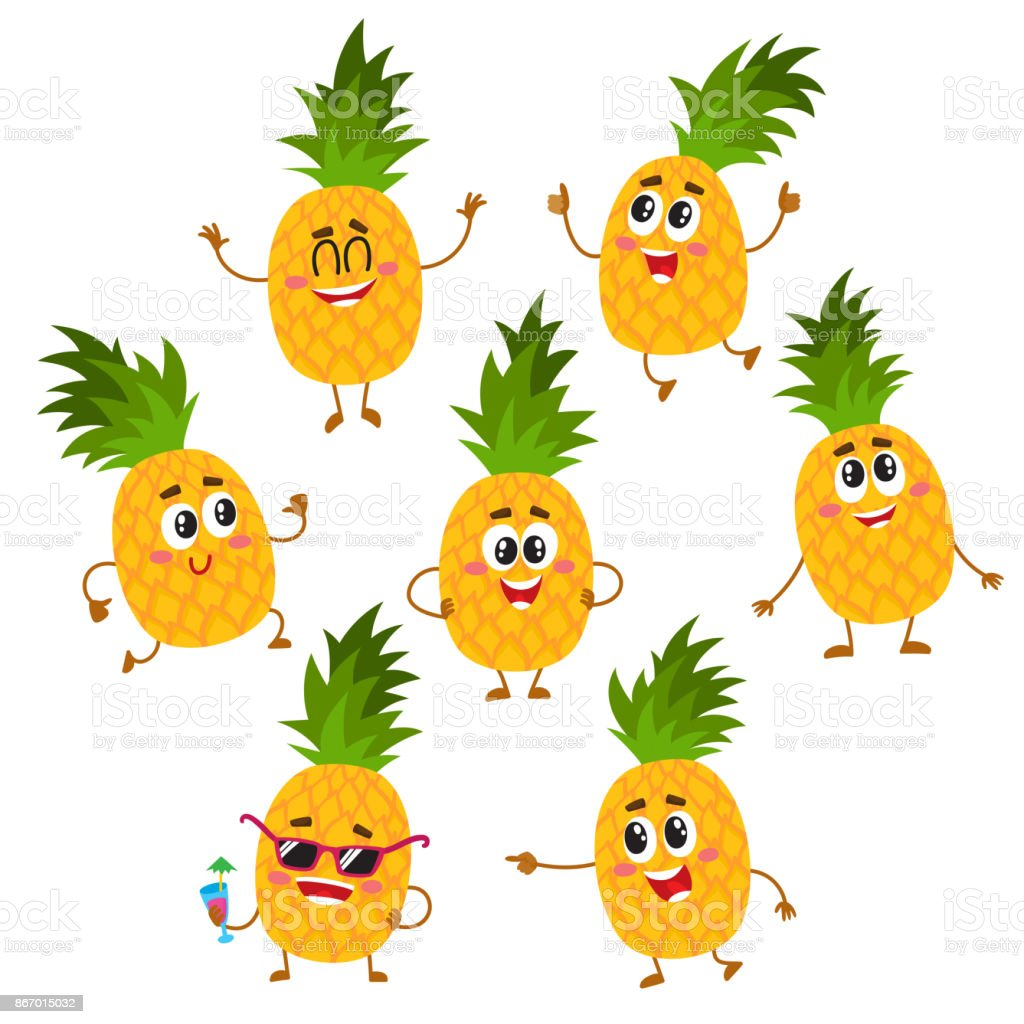 Set Of Cute And Funny Pineapple Characters With Happy ...