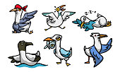 Collection set of cute and funny seagull character in different action situations. Isolated icons set illustration on a white background in cartoon style.