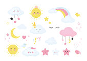 Set of cute and funny weather signs and icons isolated on white background. Cartoon design colorful illustration of a rainbow stars thunder moon sun rain clouds lashes the star bird. Vector graphics