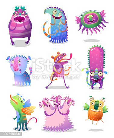 Set of cute and happy colorful monster with big eyes and long legs. Cartoon style. Vector illustration on white background