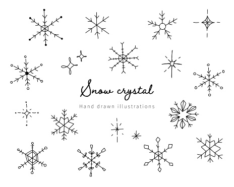 A set of cute and simple snowflake icons