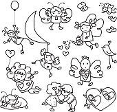 Set of cute angels cartoons.