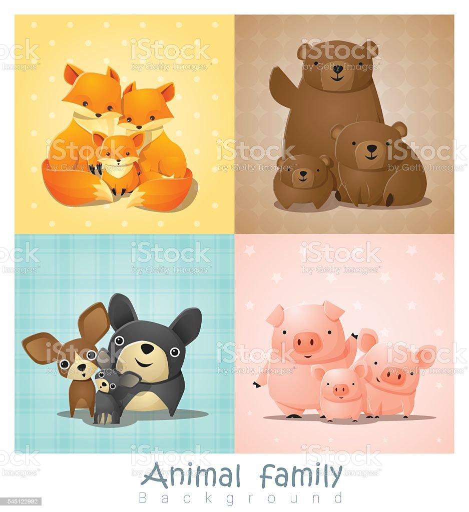 Set of cute animal family portrait vector art illustration