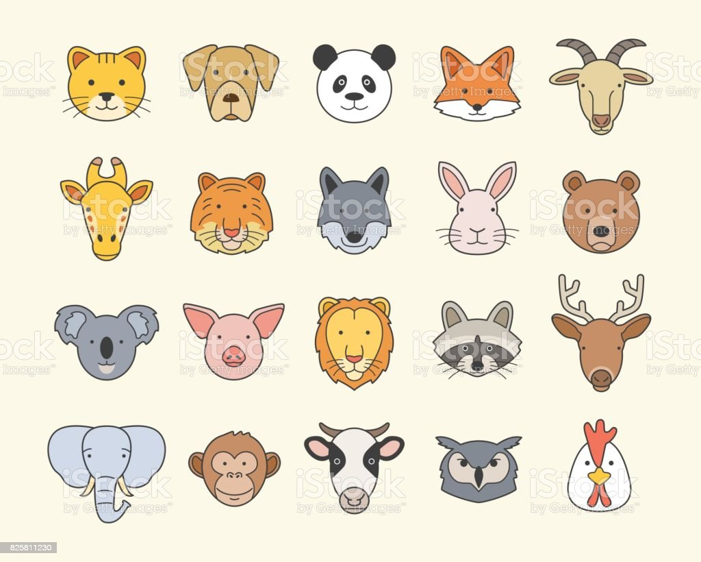 Set of Cute Animal Heads vector art illustration