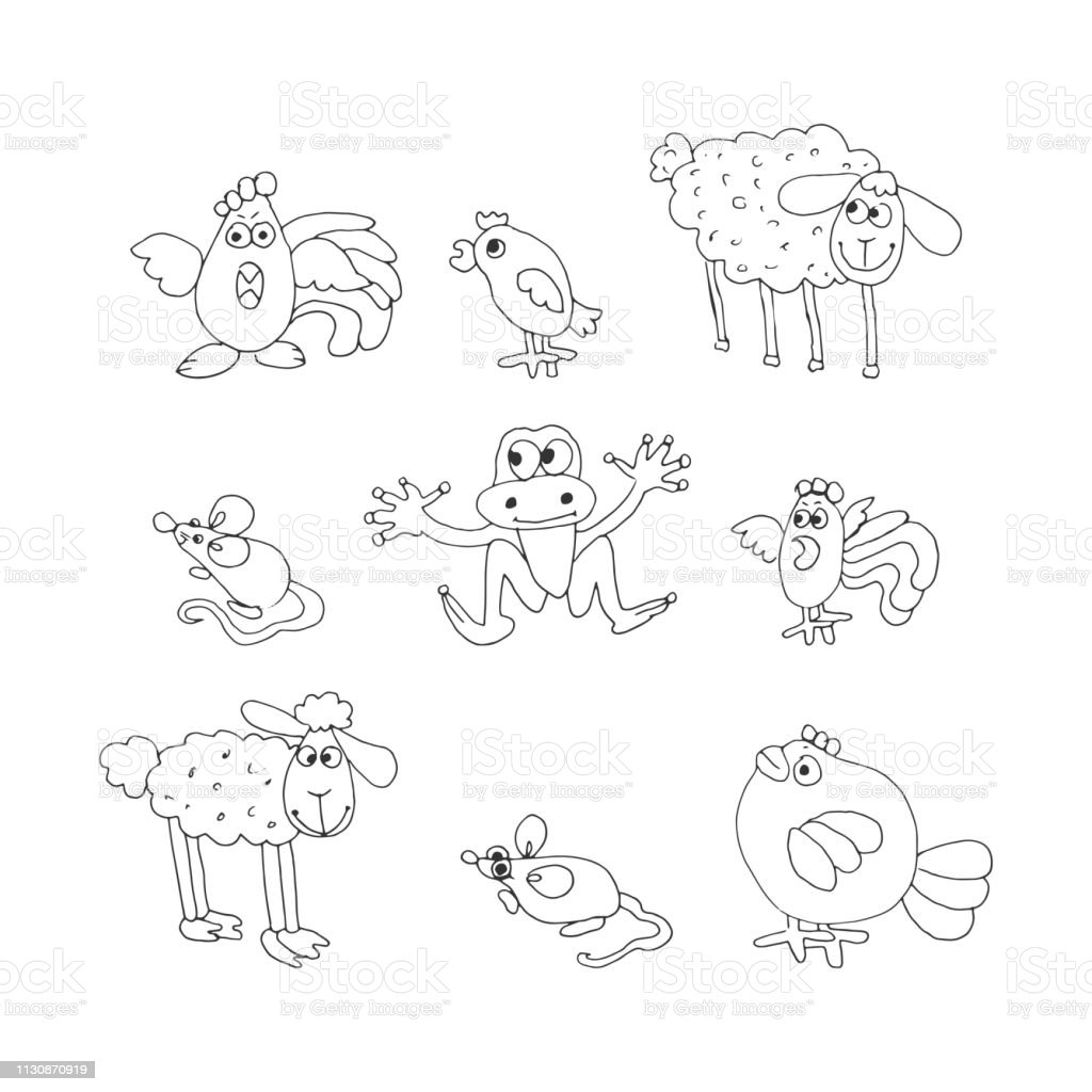 set of cute animals and birds. hand drawn black and white vector...