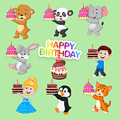Vector illustration of Set of cute animals and kids for happy birthday design