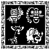 4b2bf30a9a179 ... Set of cute animals in ethnic style. Hand draws tribal collection.