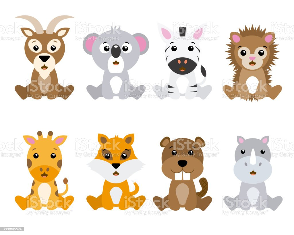Set of cute animals isolated vector art illustration