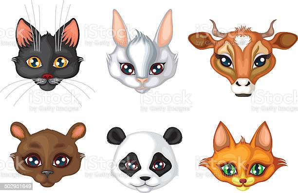 Set of cute animals muzzles vector id502951649?b=1&k=6&m=502951649&s=612x612&h=8yxyhl5ujjq44kgya1avaed54jekogio82m0k0s8tbg=