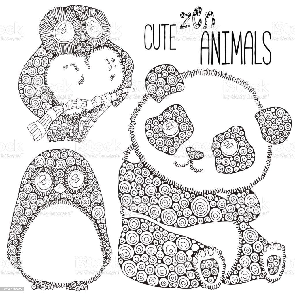 Sevimli Hayvanlar Kumesi Panda Penguen Baykus Yetiskin Antistress