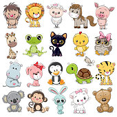 Set of Cute Animals on a white background