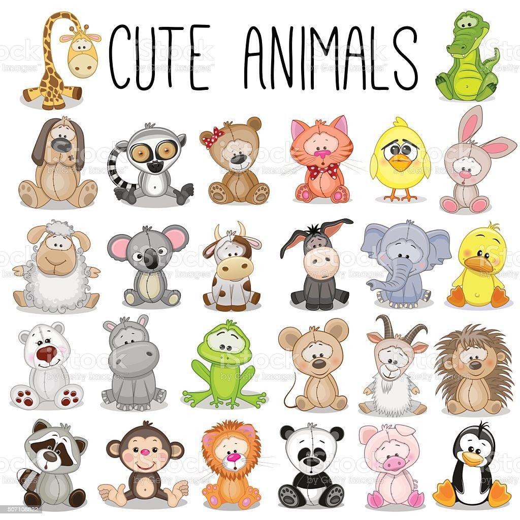 Conjunto de animais bonito - ilustração de arte em vetor