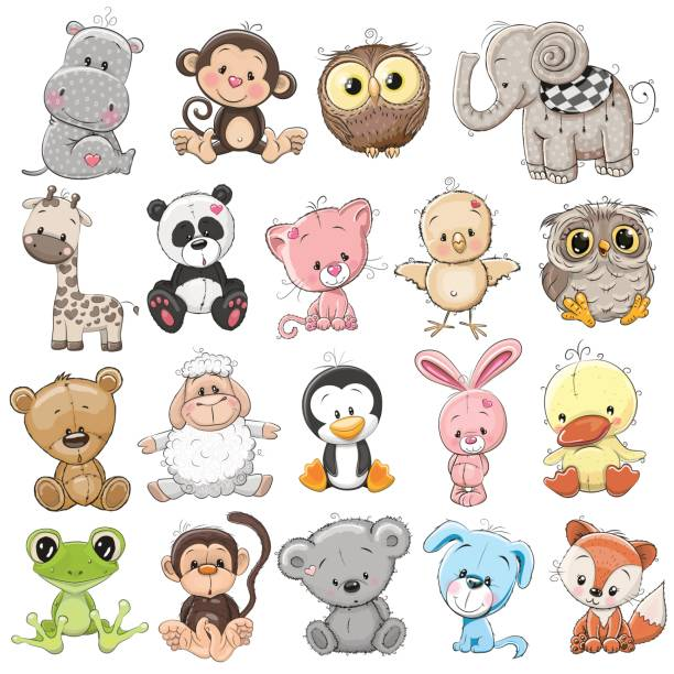 set of cute animals - cartoon kids stock illustrations, clip art, cartoons, & icons