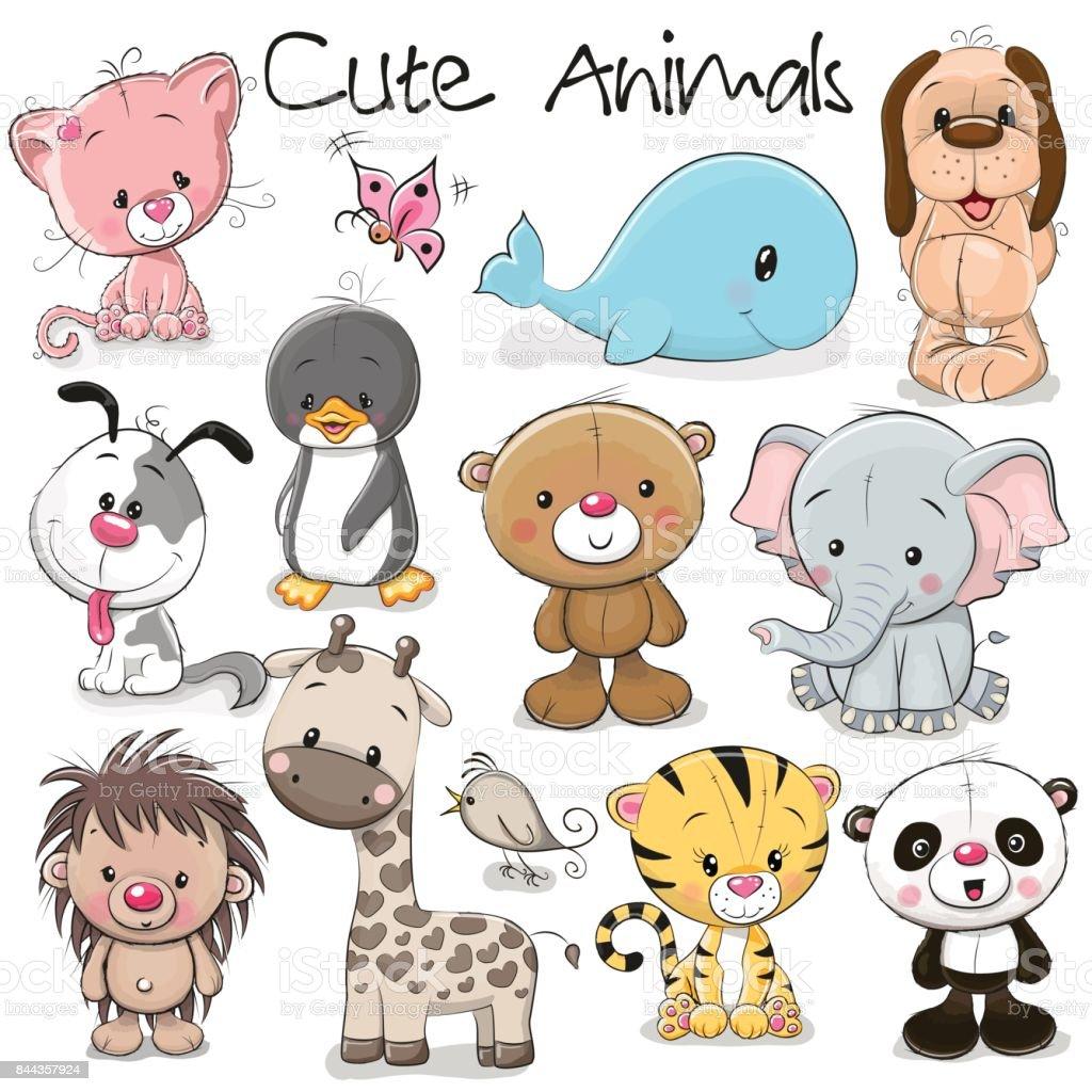 Ensemble de mignon animaux - Illustration vectorielle