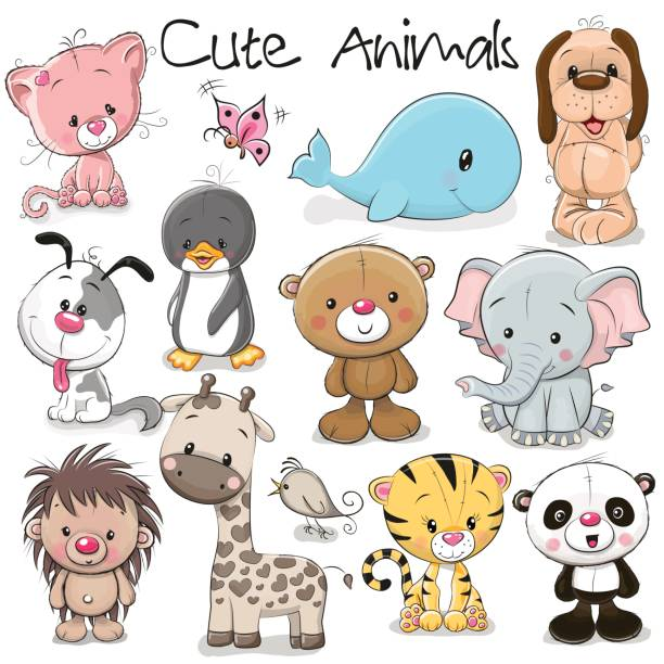 set of cute animals - baby animals stock illustrations