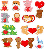 Vector illustration of Set of cute animals with red heart