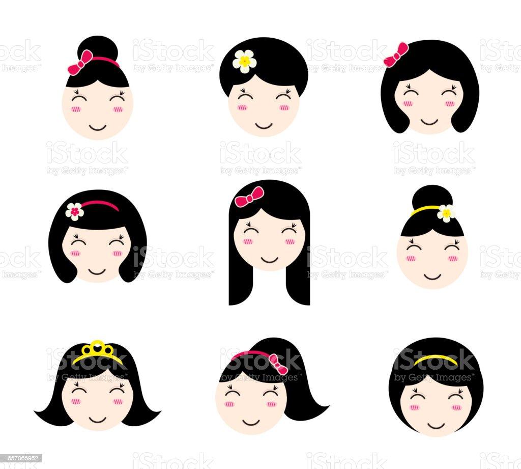 別の髪型でかわいいアニメ美少女キャラクターのセット おだんごヘアの