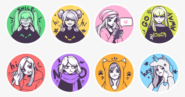 a set of cute anime girls illustrations in various clothes doing different activities with different expressions. stickers or badges - anime girl stock illustrations