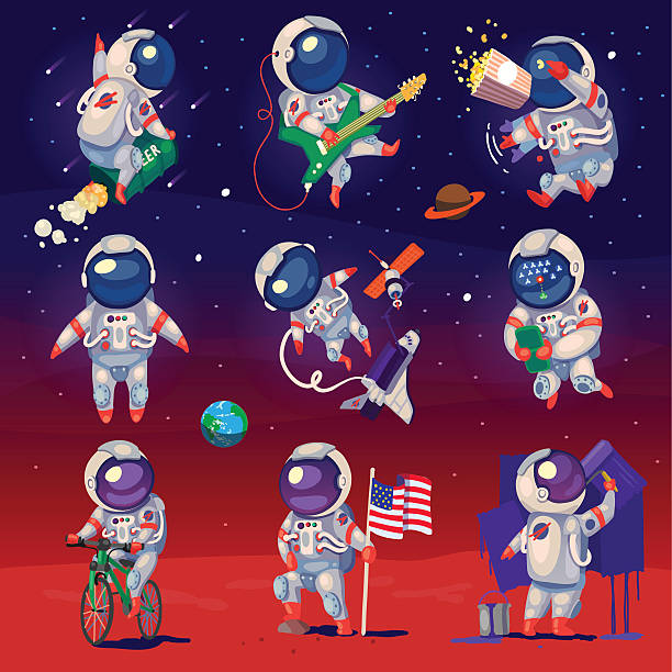 Set of cute astronauts in space Set of cute astronauts in space, working and having fun. EPS 10. Isolated images. astronaut floating in space stock illustrations