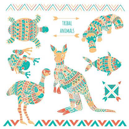 Set of cute australian animals as kangaroo, duckbill, emu bird, frog, fish and turtle for baby shower design.
