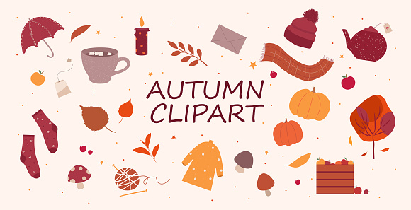 Set of cute autumn objects in warm colors, fall season icons collection