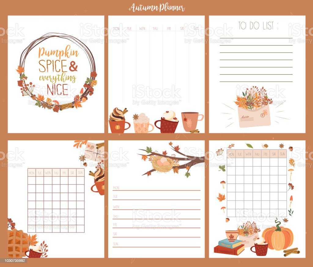 Set Of Cute Autumn Weekly Planner Template Royalty Free