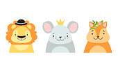 istock Set of Cute Baby Animals in Headdresses, Lovely Mouse, Fox, Squirrel in Stylish Headgears Cartoon Vector Illustration 1330960641